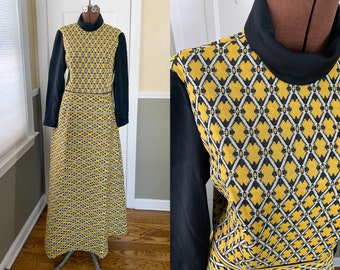 Vintage 1970s black & yellow knit maxi dress with mock turtleneck | full length mod dress | NOS with hang tags | Size S