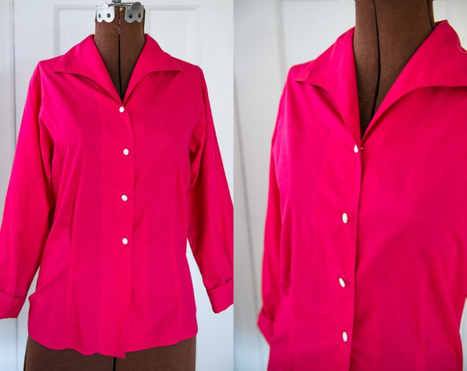 Vintage Sz M 50s hot pink cotton 3/4 sleeve blouse, career blouse