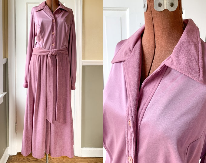 Vintage 1970s mauve lavender sueded poly shirtwaist dress, 70s career dress, Miss Sandy of California, NWT, Size L