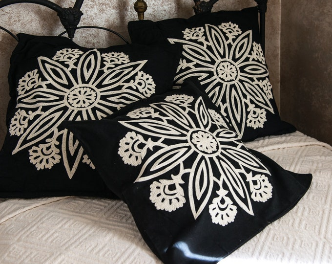 Set of 3 Pottery Barn crewel embroidered black & white square pillow shams | never used | made in India