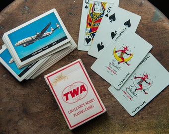Vintage TWA Collector's Series playing card deck in original box with image of Lockheed 1049 - 1952 | airline advertising | airline souvenir