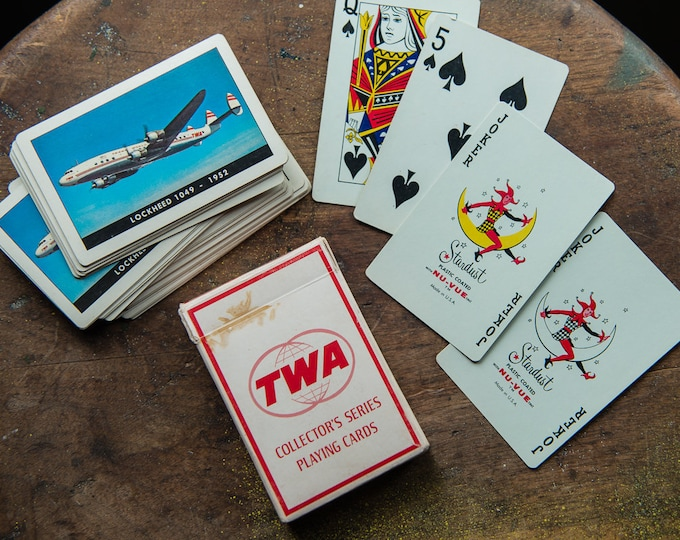Vintage TWA Collector's Series playing card deck in original box with image of Lockheed 1049 - 1952 | airline advertising