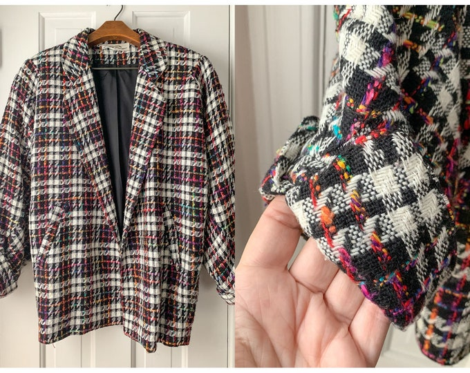 Vintage 1980s wool plaid black, white and rainbow boxy blazer with shoulder pads