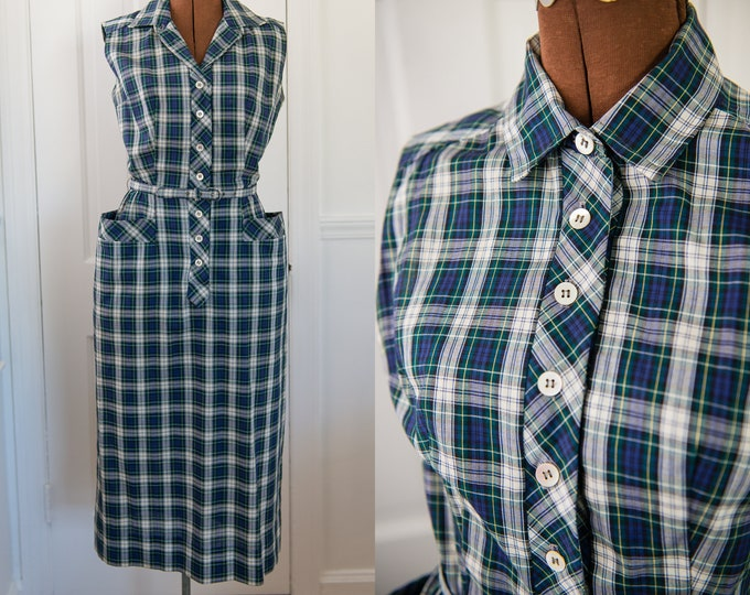 Vintage 1950s plaid sleeveless button-up dress with pockets, Sue Brett, Size XS/S