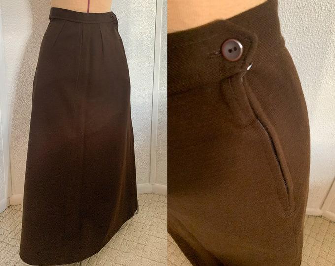 Vintage 70s brown knit full length skirt or maxi skirt, Sz S