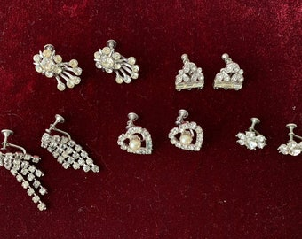 Lot of 5 pairs of vintage rhinestone screw back earrings | heart earrings | mid century jewelry