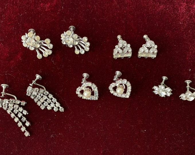 Lot of 5 pairs of vintage rhinestone screw back earrings   heart earrings   mid century jewelry