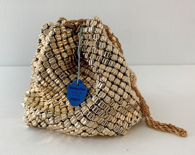 Vintage Whiting & Davis Co. mesh metal pouch purse with chain drawstring handle, new with original tag
