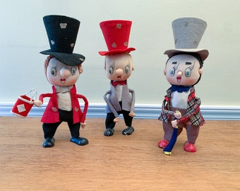 Vintage collection of 3 Noel Japan felt stockinette dolls with top hats, posable collectible doll, Christmas caroler figurines