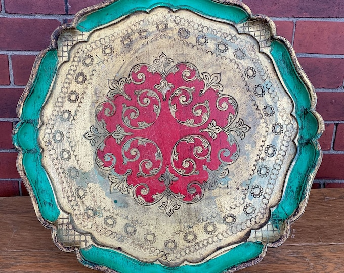 Vintage ornate Italian Florentine tray hand painted in metallic gold green red