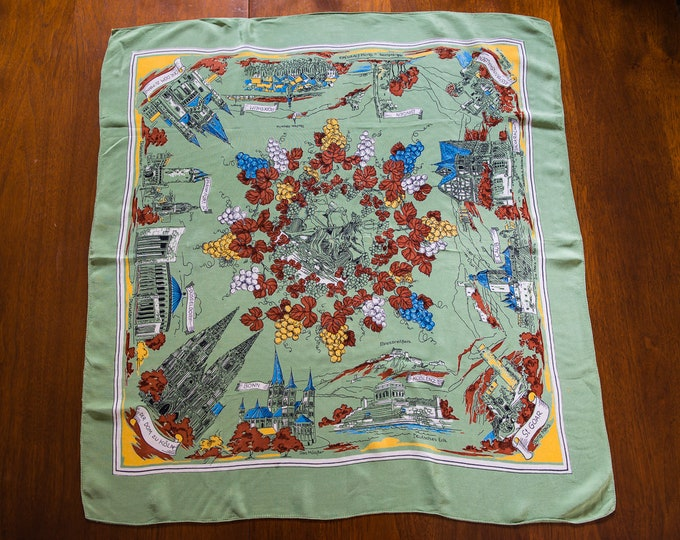 "Vintage 1960s silky novelty travel souvenir scarf from Germany with historical sites and grape/grape vine motif | 27"" x 29"""
