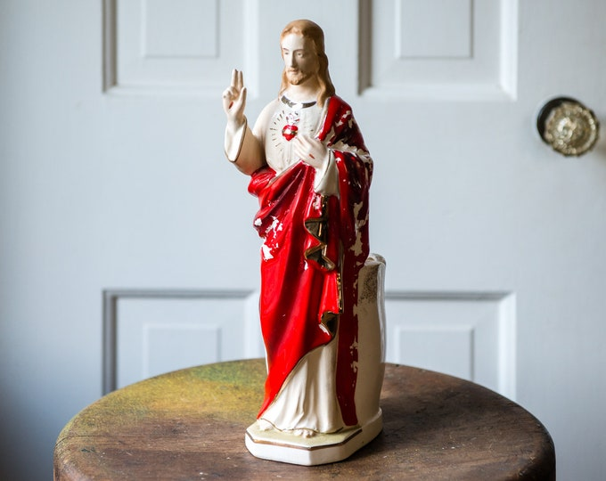 Vintage sacred heart 'peace be with you' Jesus planter with chippy red paint and metallic gold accents