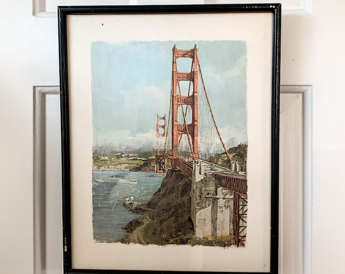 Vintage 1960s Don Davey Golden Gate Bridge framed print, San Francisco CA, MCM wall decor