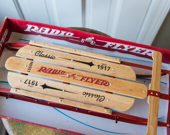 Miniature wooden replica toy Radio Flyer snow sled No. 551 in original box