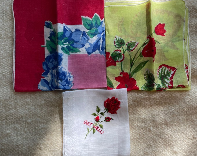 Vintage 3pc lot of hankies or handkerchiefs with embroidered red rose get well message