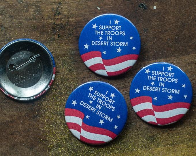 Vintage 4pc Desert Storm lapel pin button, military collectible, militaria