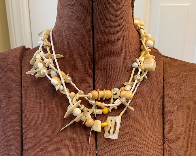 Vintage up-cycled assemblage necklace with shells buttons beads mother of pearl, handmade boho necklace, repurposed buttons