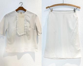 Vintage 60s 2pc white waitress skirt set or nurses uniform, white workwear set, Size S