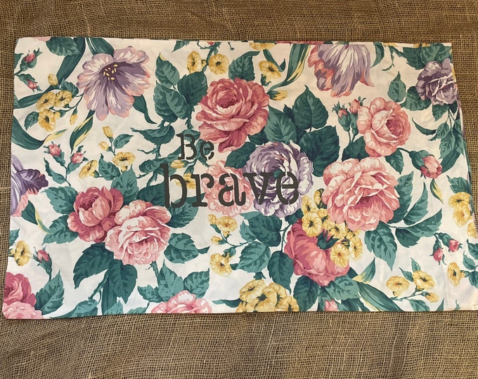 Vintage hand-stenciled Floral pillowcase with pink and yellow flowers