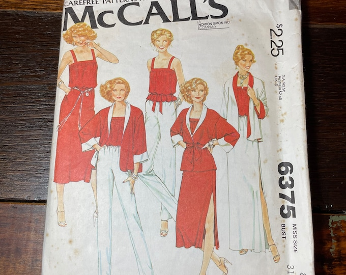 Vintage 1970s McCall's sewing pattern 6375, misses reversible jacket, top, skirt and pants, Carefree Patterns from McCalls's, Size 8