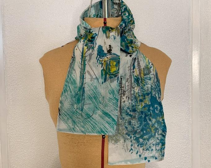 Vintage 50s 60s nylon scarf with Parisian street scene