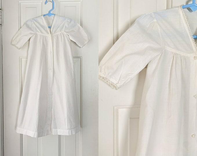 Vintage cotton minimalist baptismal baby dress with lace trim   antique christening dress   vintage white baby dress