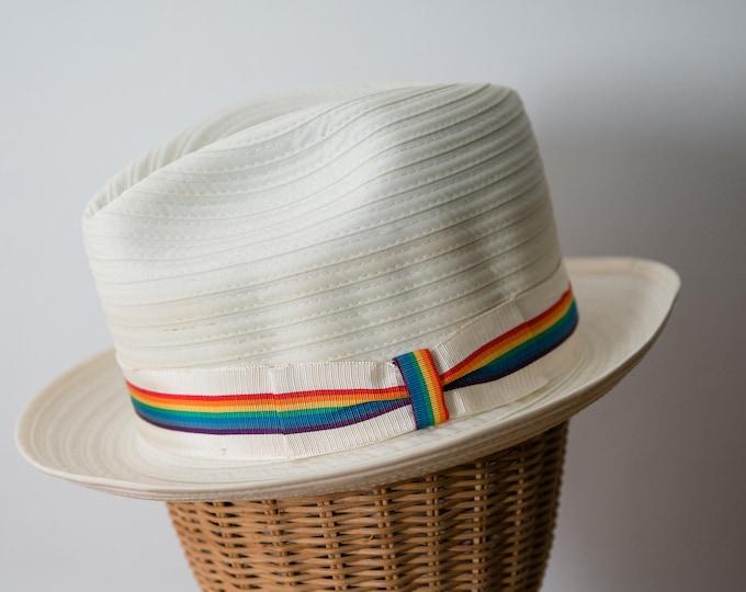 Vintage cream color fedora hat with rainbow grosgrain ribbon trim, Pocket Hat, Sz M