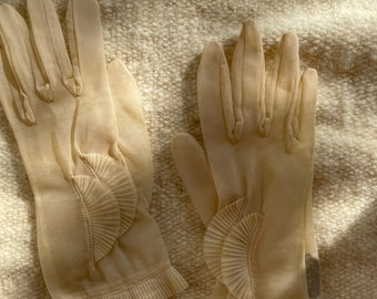 Vintage 1950s beige see-through dress gloves with ruffled details, Size XS