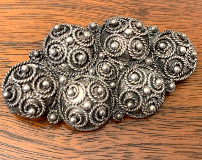 Vintage made in Israel sterling silver 925 filigree scroll brooch, Israeli silver pendent