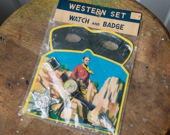 Vintage NOS children's western mask, watch and badge set Pat# 52619 Japan
