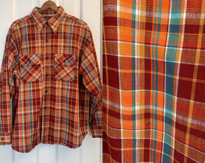Vintage men's orange & brick red plaid button down shirt, twill workwear shirt, Size XL