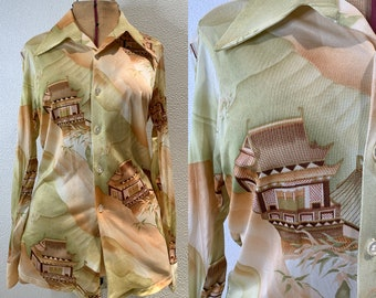 Vintage 70s wide collared button down disco shirt, Asian pagoda print, Knitwear Fashions, Size S