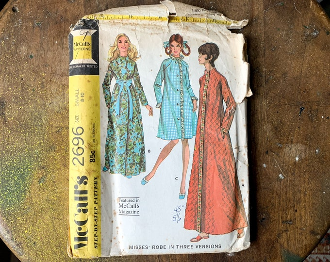 Vintage 1970 McCall's sewing pattern for set of 3 misses robes 2696   Step-by-step Pattern   Size S   Size 8 - 10
