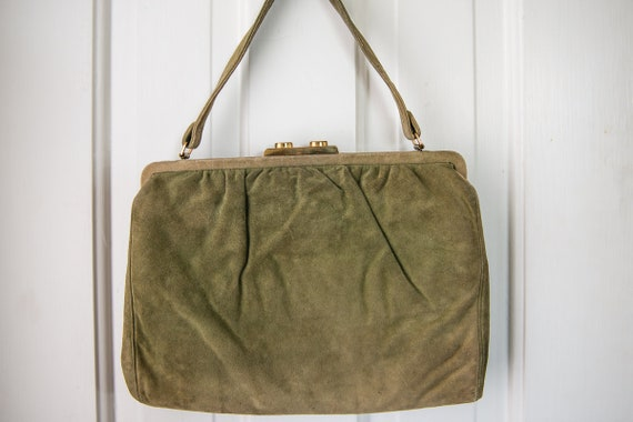 Vintage 1940s moss green suede handbag purse with