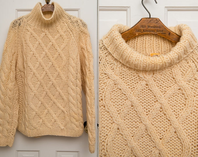 Vintage 1960s wool fishermen's knit turtleneck pullover sweater, made in Italy, Size XL/XXL