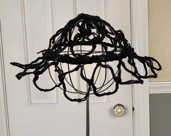 Unique vintage black structural open weave hat   black pillbox hat   high fashion hat   Size S - L