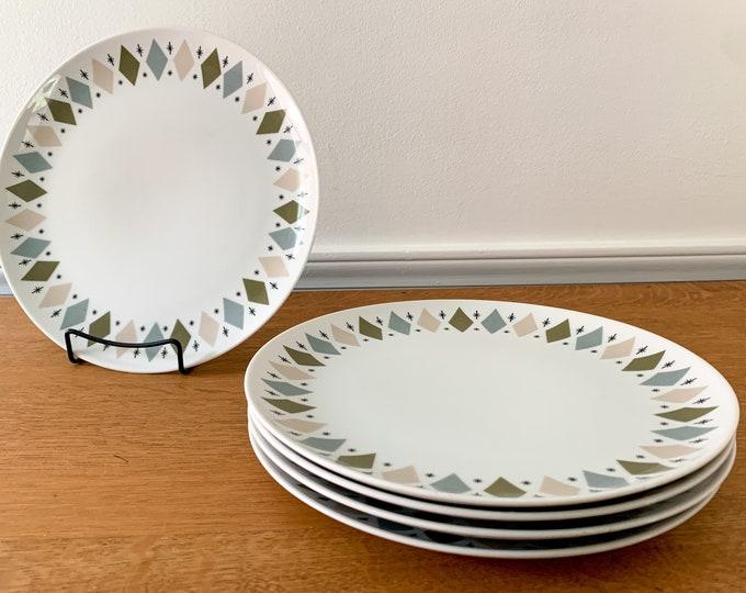 "Vintage 1950s 5pc Norleans Mystic China Pattern 10"" dinner plates, MCM dinnerware, atomic starburst china"