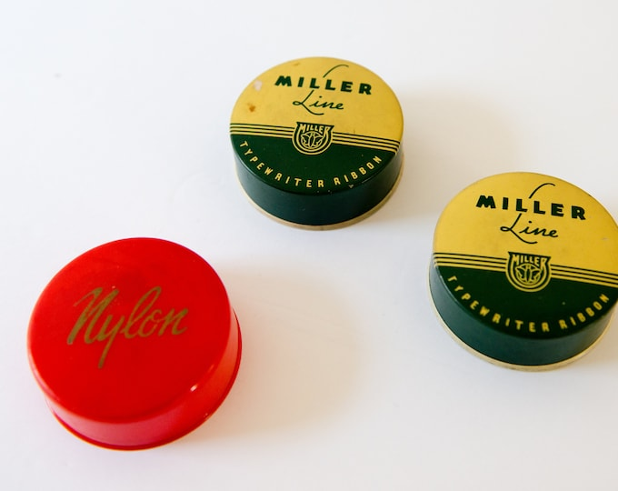 Vintage 3pc collection of typewriter ribbon tins, Miller Line, Carter Ink Co.