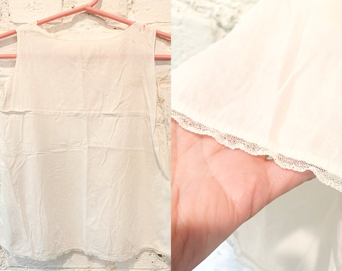 Vintage white cotton baby dress with lace trim, baby doll dress