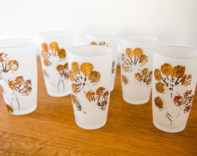 Vintage 6pc hand painted frosted tumbler glasses, United Glass Industries,  8oz