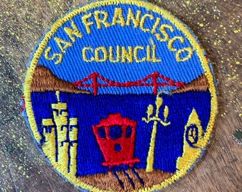 Vintage SanFrancisco Council patch with trolley car, Golden Gate Bridge patch, collectible embroidered patches
