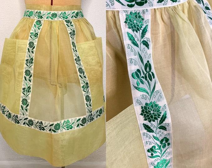 Vintage yellow organza half apron with green floral trim print, hostess apron, MCM apron