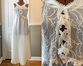Vintage 1980s NOS off white satin and lace nightgown with keyhole bodice, wedding lingerie, Pauline's Trousseau, Size M