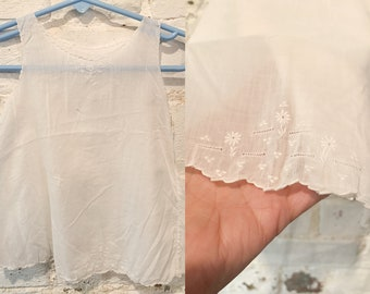 Vintage white cotton baby dress with embroidery and scalloped edges, baby doll dress