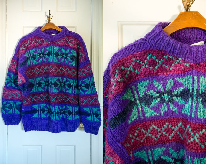 Vintage handmade wool Nordic sweater in purple and teal green, made in Ecuador, Size XL