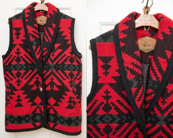 Vintage Woolrich red wool blanket vest in southwestern print, Sz M