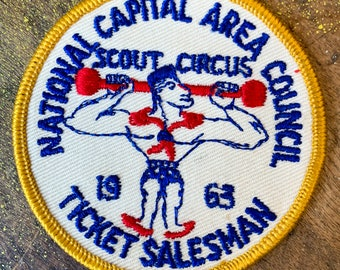 Vintage 1960s Boy Scouts of America patch with strong man, National Capital Area Council, Scout Circus, collectible embroidered patch