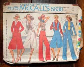 Vintage 1970s McCall's sewing pattern 5638 for set of misses unlined jacket, vest, culottes and pants, Carefree Patterns, Size 12
