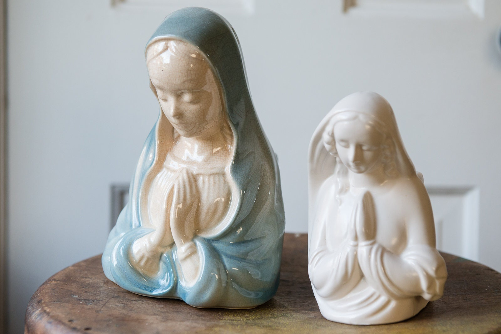 Pair of vintage blue and white blessed mother Mary planters | Royal