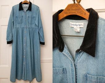Vintage 1990s denim long sleeve high-waisted dress with velvet collar, Size XL